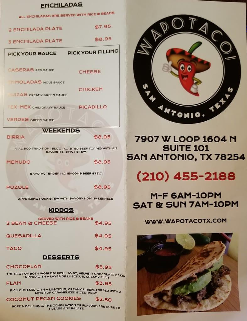 Wapotaco menu