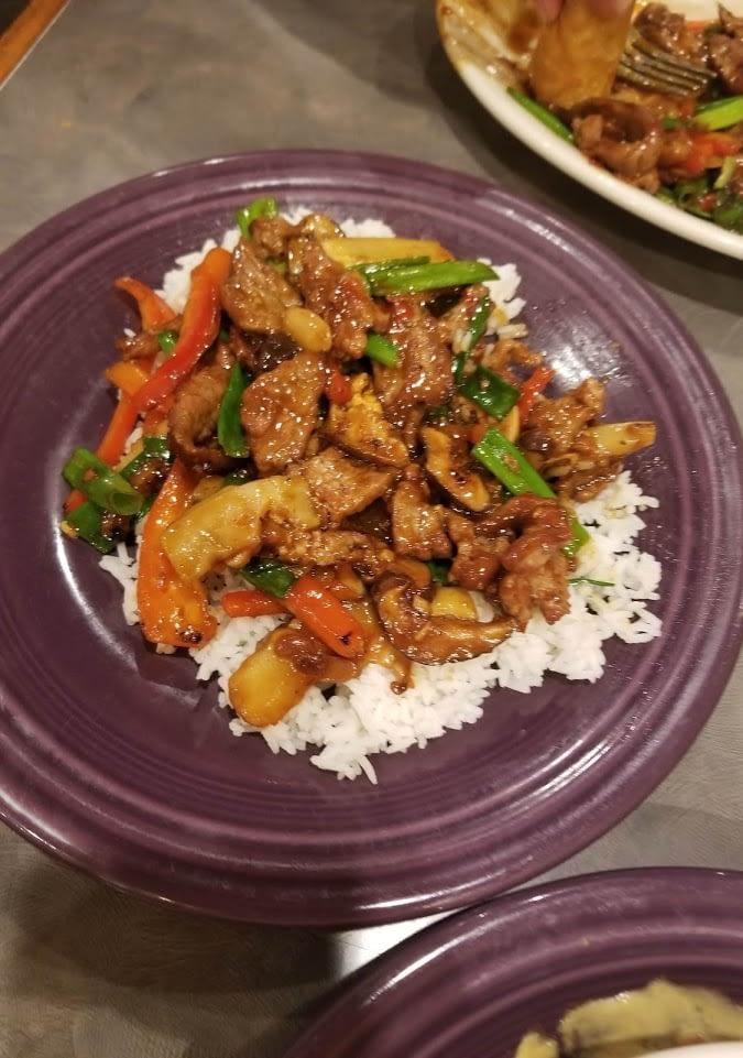 Szechaun Beef on white rice