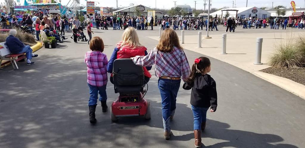 Grandma and kids touring the grounds