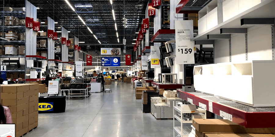 interior of ikea approaching the checkout