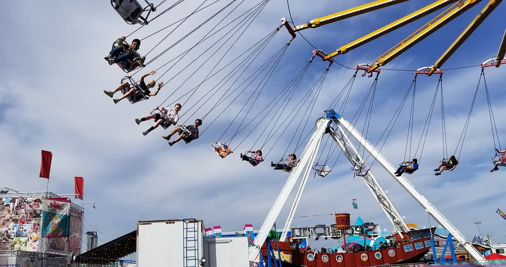 Large swing ride at the carnival grounds
