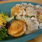 Chicken pot pie with cornbread and salad