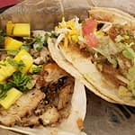 Jerk Chicken with mango and Fried Avocado at torchy's tacos