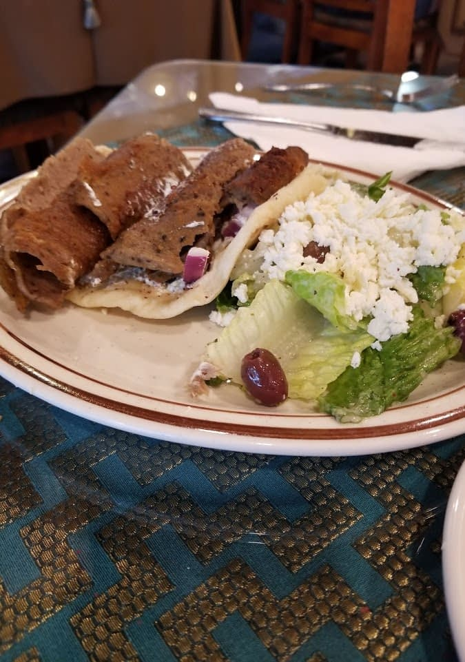 Mediterranean Gyro wrap with the Greek salad.
